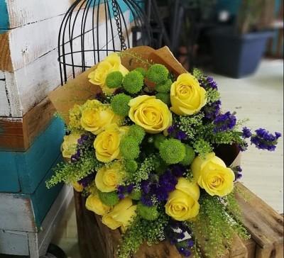 Ramo en tonos de amarillo y verde