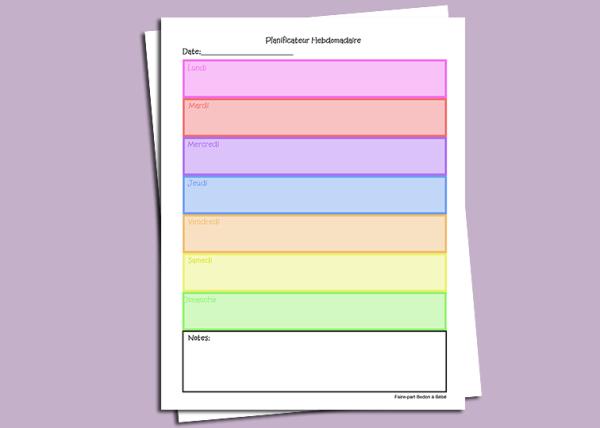 planificateur, agenda, hebdomadaire, weekly