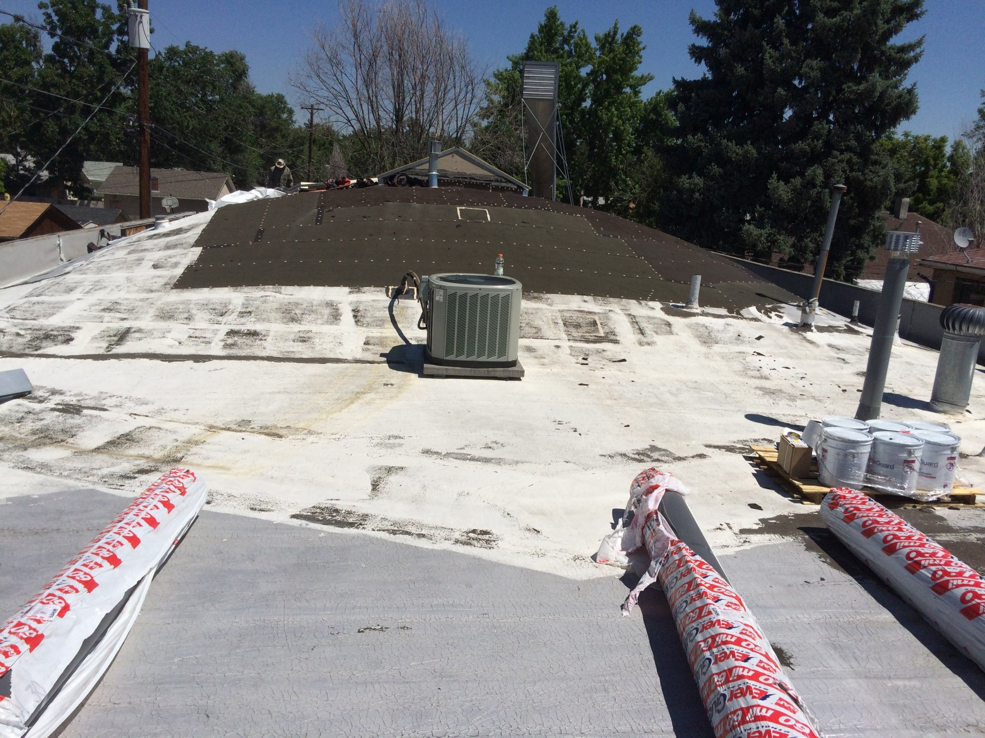 Low slope roof damaged by hail. Installing new GAF TPO 60 Mil