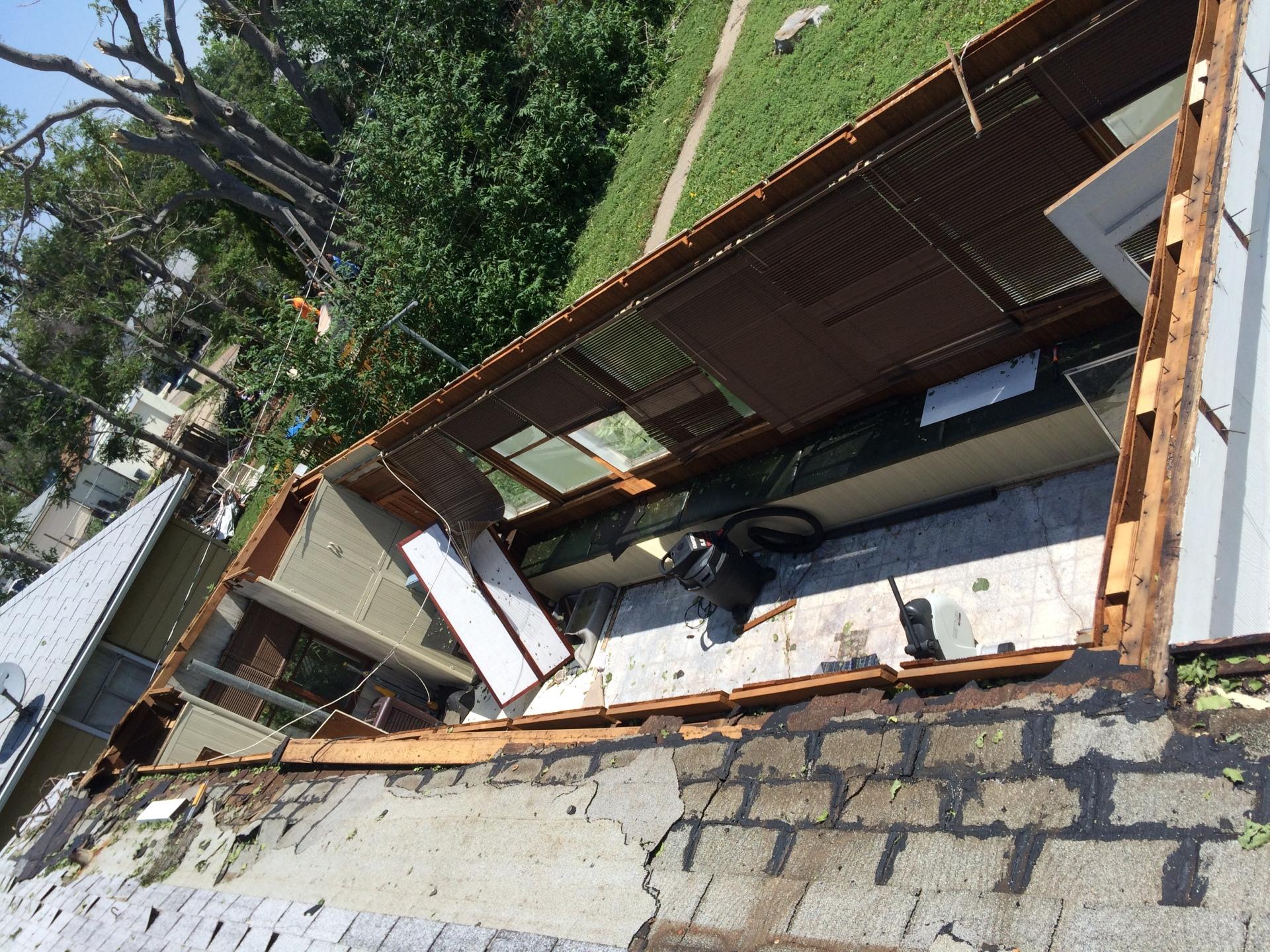 Wind damage after a severe storm