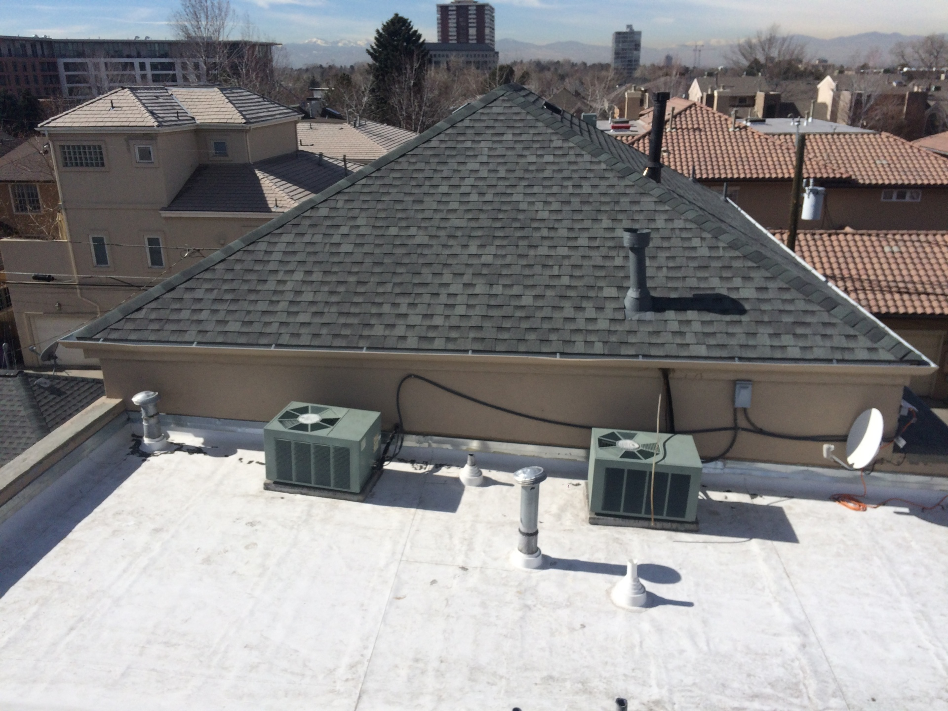 Installed GAF TPO 60 mil on the middle flat roof.