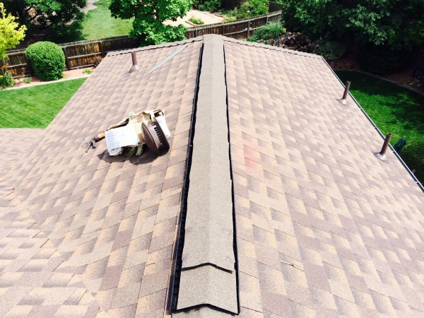 Pictures of after the ridge vent is installed