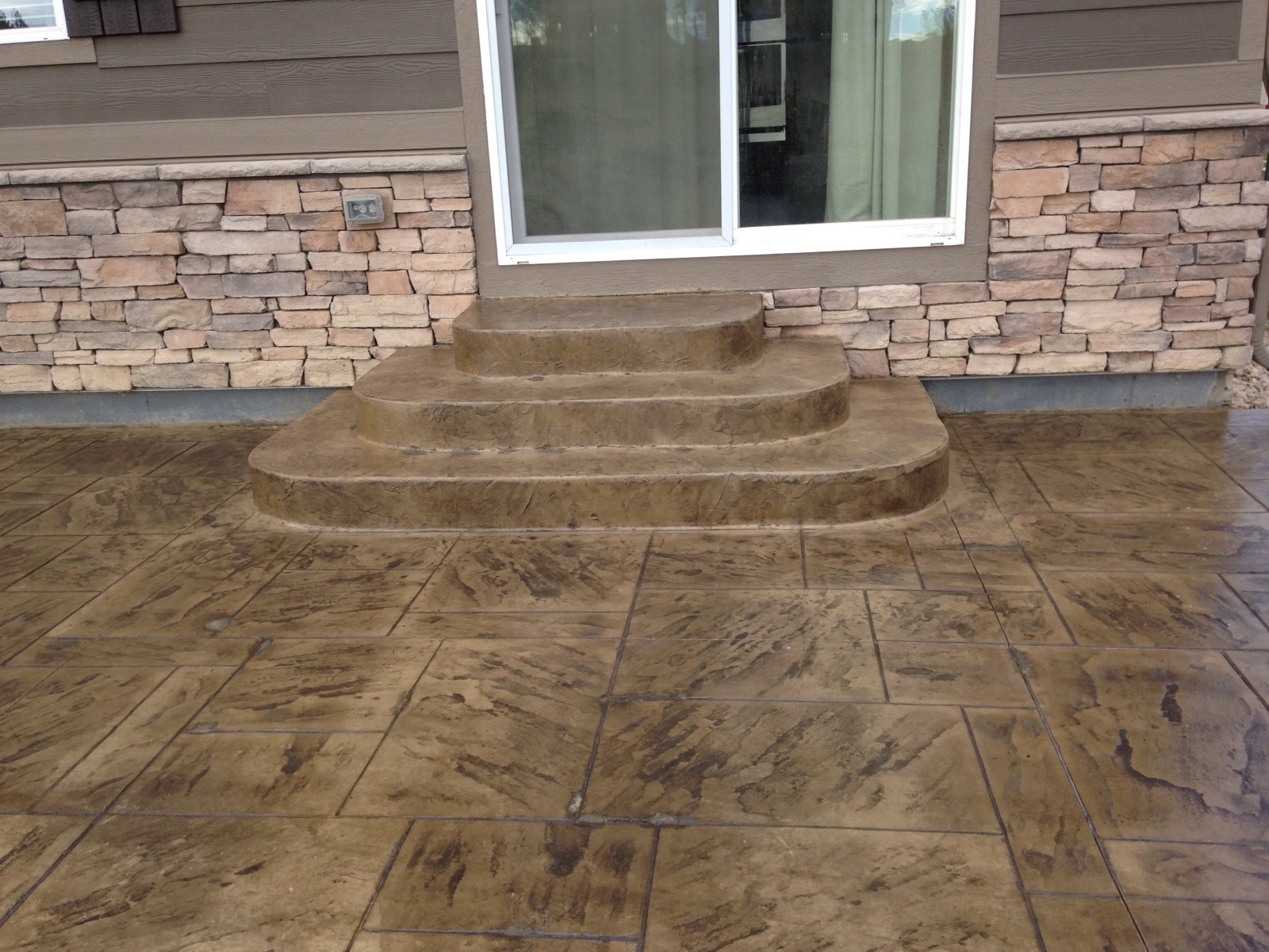 Stamped back patio concrete