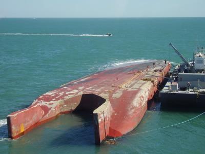 DBL-152 tank barge, allision, grounding, salvage engineering