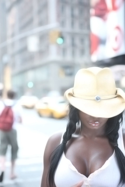 Fashion, Times Square, Cowboy, Hat, Décolletage, Braids