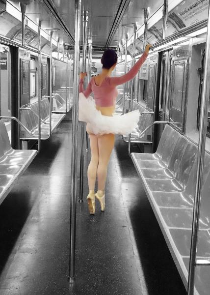 Dancer, Subway, Amy, Sherman, Amy Sherman, Photoshop, Dual-chrome, Tutu, Ballerina, Ballet, MTA