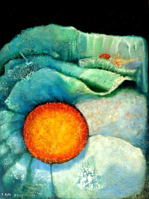 Floral landscape orange sun and Ice blue