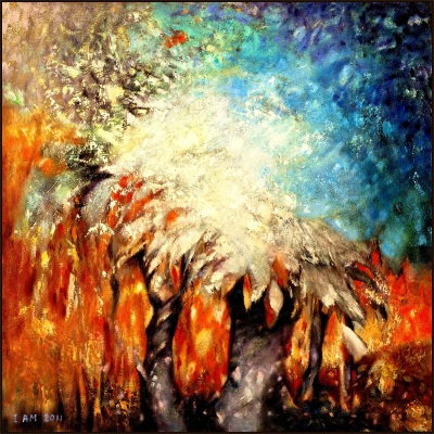 Forest art nature trees ice blue orange fire painting