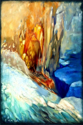 Abstract landscape art ice blue red fire