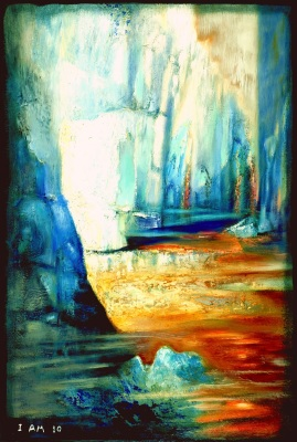 Abstract landscape art ice glaciers gold river