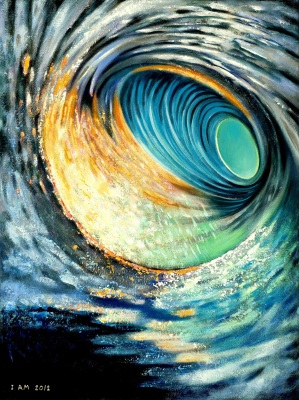 Spiral vortex art blue hole seascape