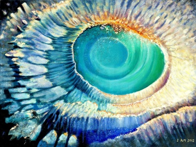Blue portal seascape vortex art white aqua