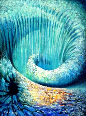 Spiral vortex artwork blue waterfall