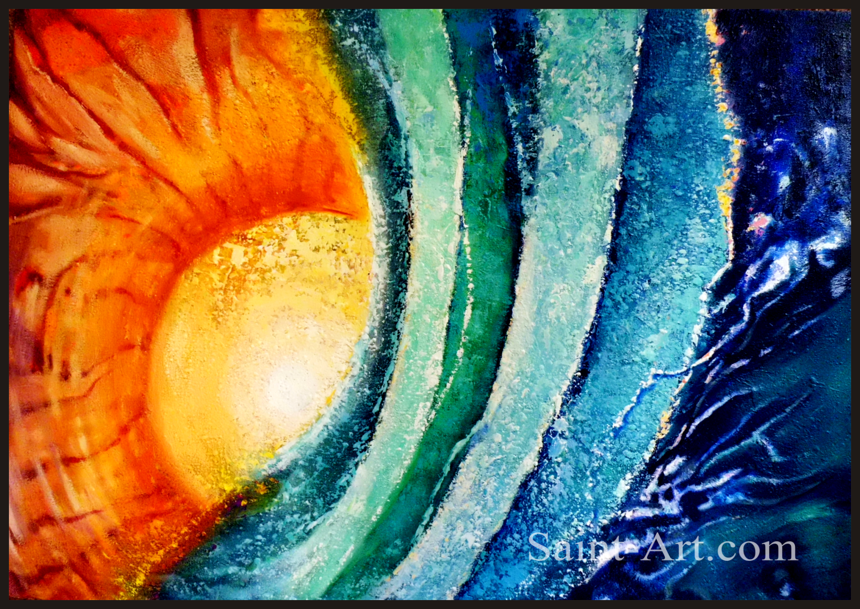 Space art blue waves of water over orange sun