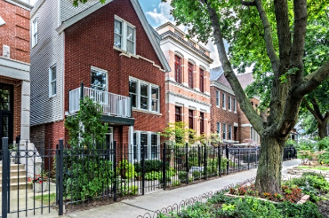 Chicago Guest House on Henderson St. Historic red brick building built in 1898
