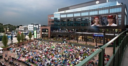 Movies in the the park at Wrigley field in Chicago