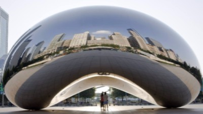 """Cloud Gate"" AKA: 'the bean', because 80 percent of its surface reflects the sky"