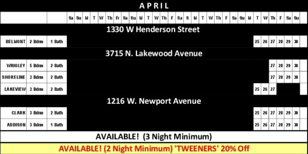 Chicago Guest House Vacation Rentals In Chicago 2017 Availability Calendar_April