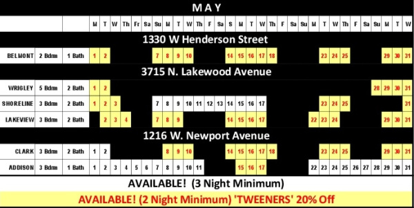 Chicago Guest House Vacation Rentals In Chicago 2017 Availability Calendar_May
