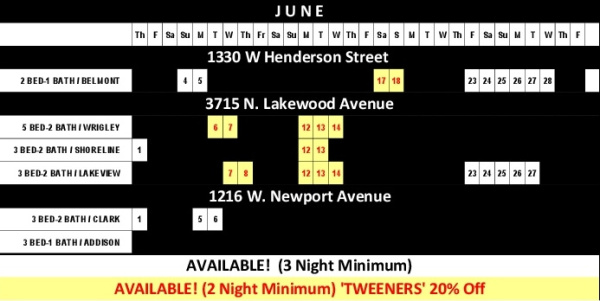Chicago Guest House Vacation Rentals In Chicago 2017 Availability Calendar_June