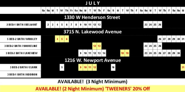 Chicago Guest House Vacation Rentals In Chicago 2017 Availability Calendar_July
