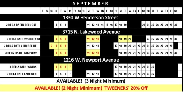 Chicago Guest House Vacation Rentals In Chicago 2017 Availability Calendar_September