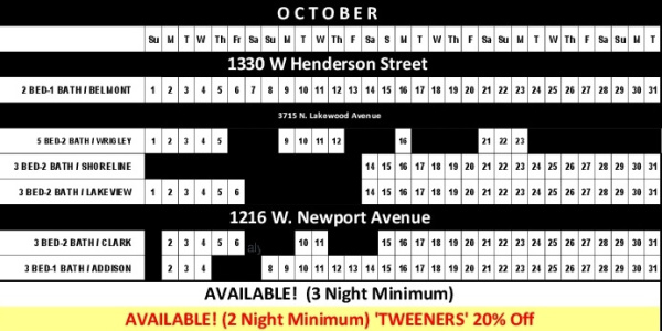 Chicago Guest House Vacation Rentals In Chicago 2017 Availability Calendar_October