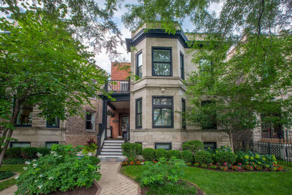 Historic greystone building built on beautiful tree lined Newport