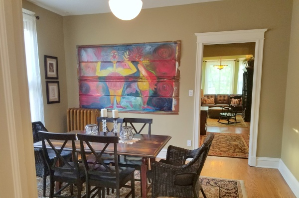 dining room with original art
