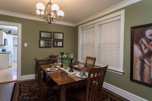 Chicago Guest House on Henderson. Formal dining room with seating for four