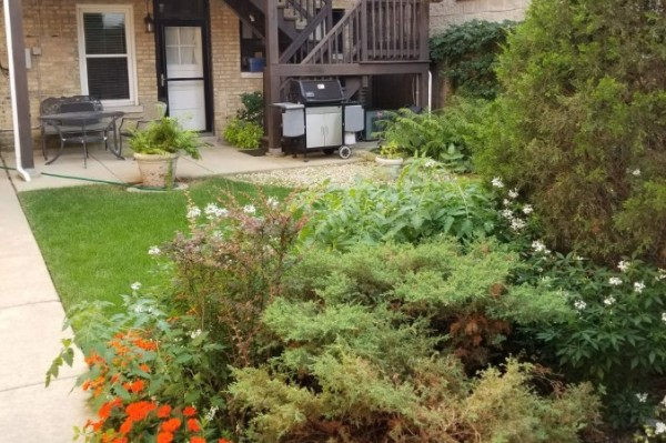 Garden with outdoor seating and gas grill outside your back door
