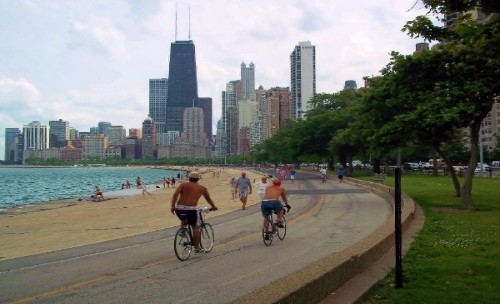 Bike riding on Chicago's Lakefront path; the Best way to see the city!