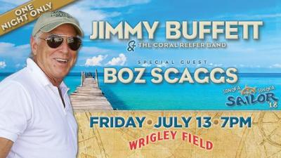 Jimmy Buffett and the Coral Reefer Band Jimmy Buffett and the Coral Reefer Band will perform at Wrigley Field Friday, July 13, with special guest Boz Scaggs.
