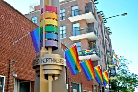 Flags in Boystown Neighborhood of Chicago