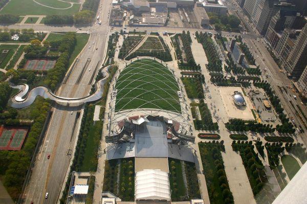 Millennium Park in Chicago overhead view
