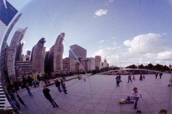 Seams in Cloud Gate sculpture in Millennium Park Chicago