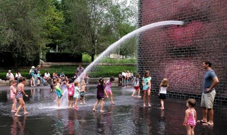 Crown Fountain spewing water in Millennium Park Chicago