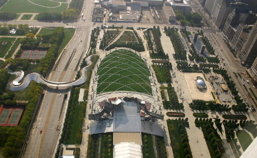 Millennium Park in Chicago overhead view