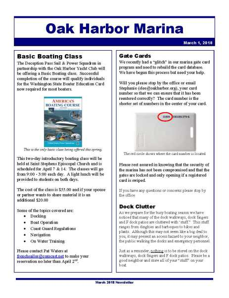 Click to open the Oak Harbor Marina March Newsletter.