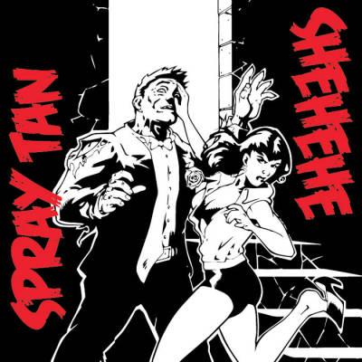 Shehehe band punk band Athens Georgia  Album split with Spray Tan album artwork