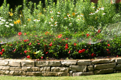 Bubbler sprinkler shown watering flower bed