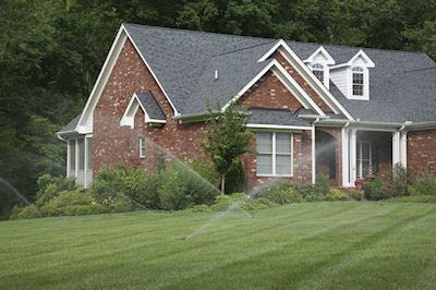 Home shown with underground sprinkler system