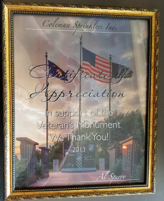 Appreciation plaque for support of the Veteran's Monument