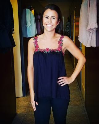 Black tank top with flower straps $29.95