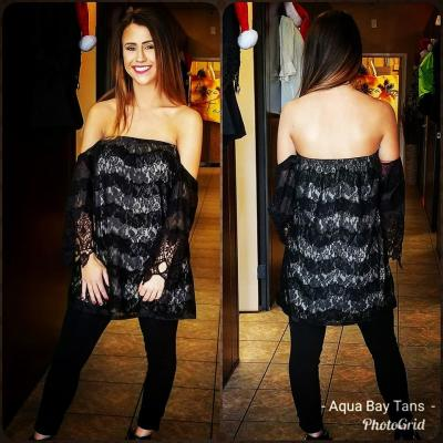 Black lace off the shoulder top $29.95
