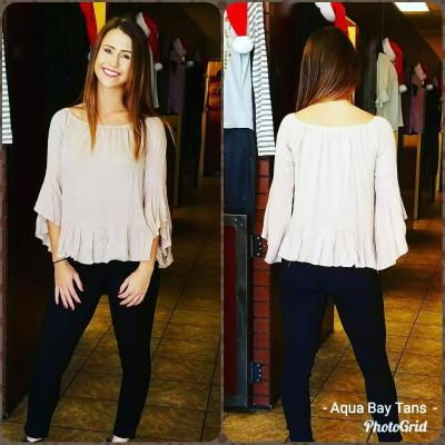 Beige off shoulder top $24.95