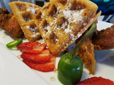Fried Chicken Jalapeno Waffles and Honey Caviar