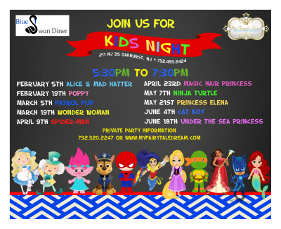 Family Nights at Blue Swan    Schedule 2018