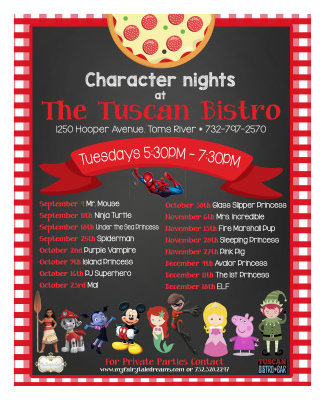 The Tuscan Bistro Kids Eat Free ~ Tuesday's 5 to 8PM