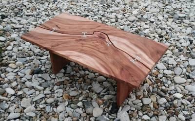 unique aluminium and elm coffee table